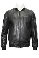 70'S RETRO BOMBER Men's Black Quilted Classic Soft Italian Nappa Leather Jacket
