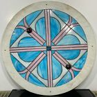 Vintage Architectural Salvage Stained Glass Circular Church Window Panel