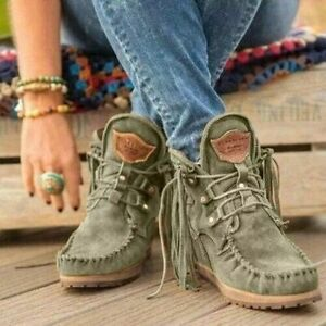 Women's Lace-up Ankle Boots Flat Suede Fringed Short Booties Thick Bottom Shoes