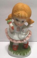 Vintage Homco Ceramic Girl With Bunny And Carrots Figurine