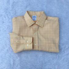Brooks Brothers Slim Fit Button Dress Shirt Non Iron Yellow Blue Checker