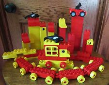 Huge Lot Vintage Lego Duplo Blocks People Animals Trees Trains Trucks Dora