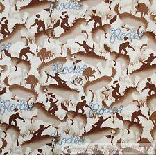 BonEful Fabric Cotton Quilt Cream Brown Blue Cow*Boy Horse Rodeo Country L SCRAP