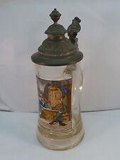 """Vintage German Beer Stein """"In der Klemme"""" Grützner Glass with Pewter Lid 0.5 L"""