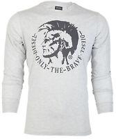 DIESEL Mens LONG SLEEVE T-Shirt ACHEL Mohawk HTHR GREY Casual Designer Jeans $68