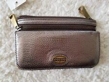 Fossil Explorer Clutch Leather Wallet Organizer Gunmetal Metallic NWT