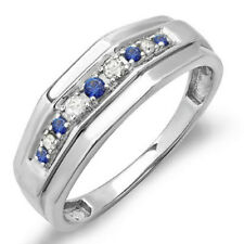 0.25 CT Sterling Silver Round Blue Sapphire & White Diamond Men's Wedding Band