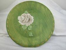 Hand Painted White Rose On Wooden Plate
