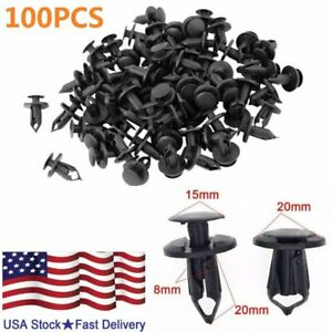 100Pcs Plastic Hole Dia Rivets Fastener Fender Bumper Push Pin Clips for Car 8mm