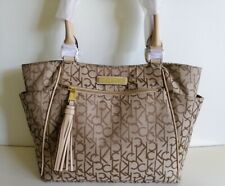 GUESS Nissana Brown Signature Coated Canvas Shoulder Tote Bag