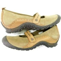 MERRELL Plaza Bandeau Mary Jane Mocs Tan Brown Leather Slipons Women 10.5