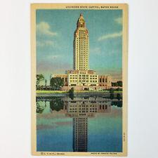 Louisiana State Capitol Baton Rouge LA Baton Rouge County Linen Postcard