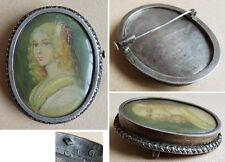 Broche argent massif + marcassites peinture miniature 19e  silver brooch