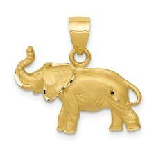 14k 14kt Yellow Gold Diamond-cut Elephant Pendant 19mm X 21mm
