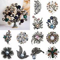 Women Rhinestones Crystal Flower Pin Brooch Wedding Bridal Bouquet Jewelry Gift