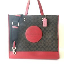 Coach Dempsey Tote 40 Signature Canvas Red  Logo Patch Travel Bag NWT $450