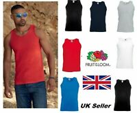MENS Fruit of the Loom  Plain VEST Athletic Tank Top 100% COTTON  Small to 5XL