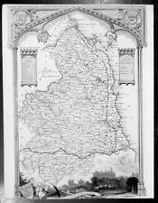 1836 Thomas Moule Original Antique Map of The English County of Northumberland