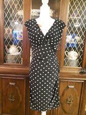 Black an white polka dotted  Ralph Lauren ladies clothing  Tea Dress Size 10