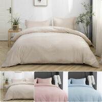 3PCS Quilt Duvet Cover Set Queen 2'' Drop Pillowcase 90*90'' Duvet Cover Soft US