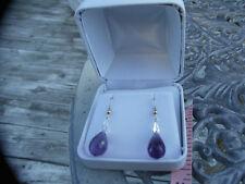 New Nwot Huge dangling 54+carat Genuine  Amethyst 14k gold & Silver earrings