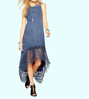 Acid Wash Maxi Dress with Dipped Hem and Lace Back Blue Size UK 10 DH098 EE 19