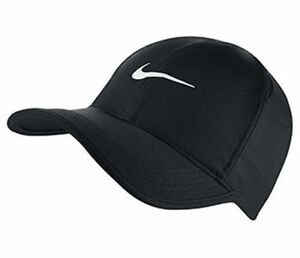 NEW NIKE Dri-Fit Feather Light Hat Cap BLACK/WHITE 679421-010 Running Tennis