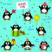 20 Servietten Pinguine Geburtstag Kinder Schnee Weihnachten Winter 33x33 cm