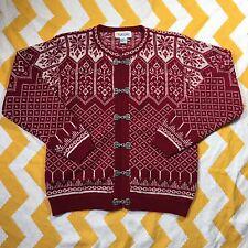 Talbots Fair Isle Nordic Print Red Cardigan Sweater 100% Wool Chunky Size S