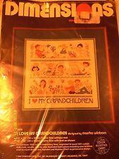 "Dimensions ""I Love My Grandchildren"" Cross Stitch Kit Size 12"" x 12"" Date 1982"
