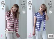 King Cole 4832 Knitting Pattern Womens Striped Raglan Cardigans in Smooth DK