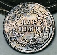 1890 Seated Liberty Dime 10c High Grade Details Good Date US Silver Coin CC5603