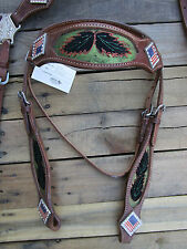 WESTERN HEADSTALL BREAST COLLAR AMERICAN FLAG BLACK HORSE LEATHER TRAIL BRIDLE