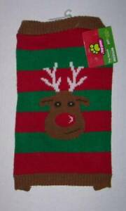 HOLIDAY CHRISTMAS DOG SWEATER - RED AND GREEN WITH REINDEER RUDOLPH Size XS