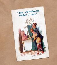 Romantic Humour card That old fashioned Mother O'Mine . 1920's unposted. b2