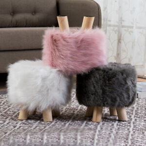 Stool Pouffe Shaggy Faux Fur Stool Foot Bench Ottoman Modern Wooden Round