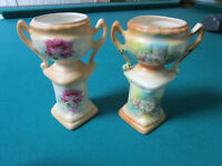 """PAIR OF ANTIQUE URNS 6"""" MADE IN czechoslovakia 5 1/2""""RED ROSES  [90b]"""