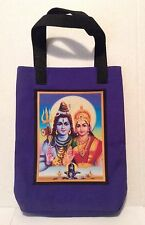 Hindu themed Tote Bag approx 8 x 10 1/2 inch lined in Black cotton material