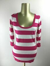 GILLY HICKS Scoop Neck 3/4 Sleeve Pink & White Striped Shirt Women's Size XS