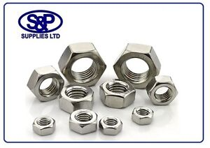 M4 TO M24, STAINLESS STEEL HEX NUT A2 ST/STEEL - ALL SIZES BETWEEN M4 TO M24