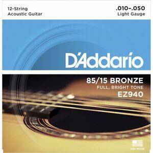 D'Addario EZ940 85/15 12-string Bronze Acoustic Guitar Strings 10-50 Gauge NEW
