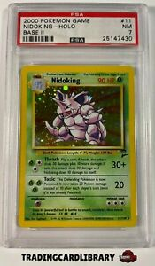 PSA 7 - Pokemon - Nidoking - Holo Rare - Base Set 2 - 11/130 - Game