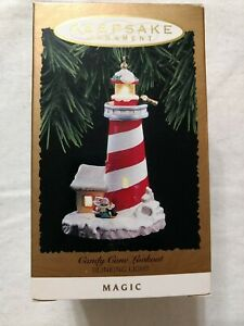 """Hallmark """"Candy Cane Lookout"""" Lighthouse (1994)."""