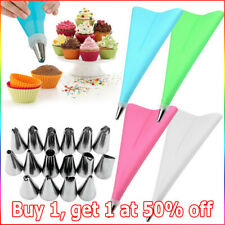 Icing Bags Piping Pastry Bag Silicone Cream Set w/ Stainless Steel Nozzle Decor