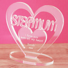 Personalised Heart Message Ornament Keepsake Birthday Step Mum Mothers Day Gift