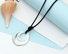 Black PU Leather Long Necklace Large Water Drop Silver Pendant Fashion Jewelery