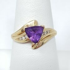 14k Yellow Gold 1ct Trillion Cut Purple Amethyst Diamond Accent Ring Size 7.5