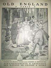 PUBLICITE DE PRESSE OLD ENGLAND MAGASIN CHASSE SPORT RENé VINCENT FRENCH AD 1906