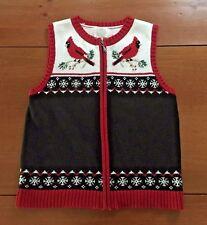 Christopher & Banks Petite Knit Zip Sweater Vest Red Cardinals Women's  P/S PS