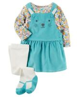 Carter's 3 Piece Set for Girls - Floral Tee, Bunny Jumper, Ballerina Tights
